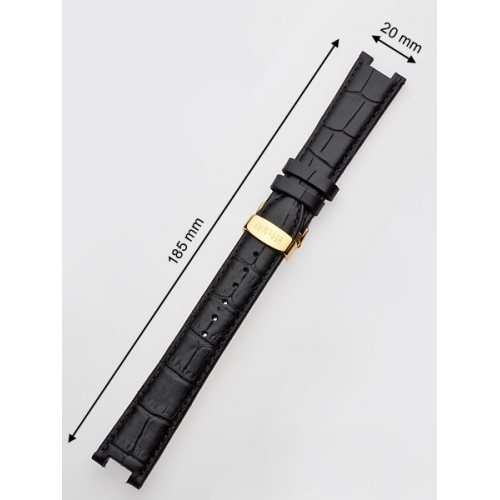 Juwelis Replacement Strap JW-0601 20 x 185 mm Black Gold Folding Clasp