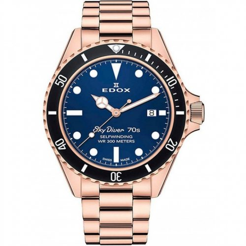 Edox 80112-37RNM-BUI Skydiver 70s date automatic 42mm 30ATM