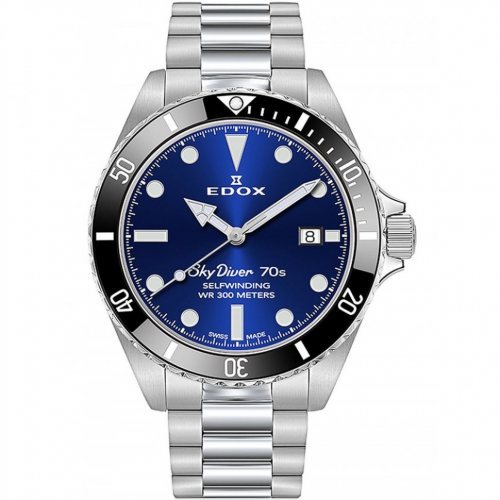 Edox 80115-3N1M-BUI Skydiver 70s date automatic 42mm 30ATM